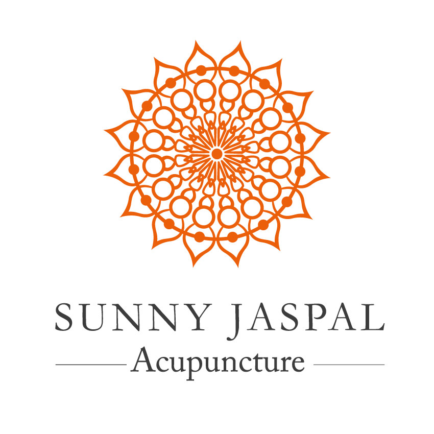 Sunny Jaspal Acupuncture text under orange mandala.